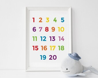 Nursery art number print - educational printables  - 16x20 wall decor - rainbow colours - digital download