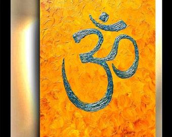 Yoga Art, Spiritual Home Decor, Om Painting, Spiritual art, Buddhist art, Om Shanti, Textured original, By OTO