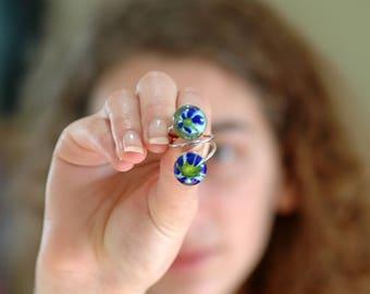 Lampwork Ring, Blue & Green Glass Ring, Murano Glass Ring, Double Beads Ring, Handmade Glass Ring, Statement Ring