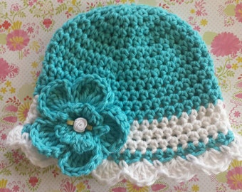 Sea Breeze-Turquoise Crocheted Hat with White Trim-Turquoise Crocheted Flower Clip-Boutique Baby Hat-Toddler Hat-Newborn Crocheted Hats-Prop