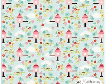 Riley Blake - Bloom Where You're Planted - Lori Whitlock - Aqua Bloom Birds - Quilting Fabric - Cotton Fabric