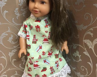 "Christmas Green and Red Print Nightgown with White Lace Trim for your 18"" Girl Doll (American Girl, Newberry, etc)"