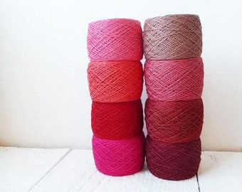 red and pink Crochet Thread collection - high quality 100% Linen Thread