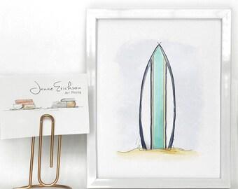 Surfboard Print – Beach Wall Art – Summer Print 5x7 or 8x10