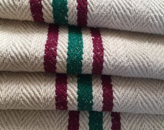 "Vintage Grain Sack 17.5x 40.5"" Emerald Green Stripes W Maroon Linen Blend - 566"