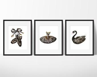Black Swan Prints, Ballerina Wall Art, Fashion Wall Art, Teen Girl Room Decor, Dorm Room Art