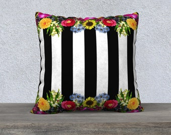 Spring Vintage Flowers Black & White Stripe Velveteen Cushion Cover - Throw Pillow Covers - Pillow Cases - Large Pillow Cover - Striped