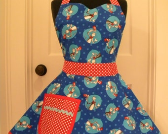 Womens Apron-The Cat in the Hat-Full Sweetheart Apron