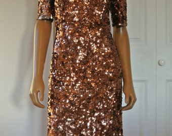 1980s Sequined Sweet Heart Dress Bodycon Shift Wiggle Bronze Sparkle Party Formal Prom/S