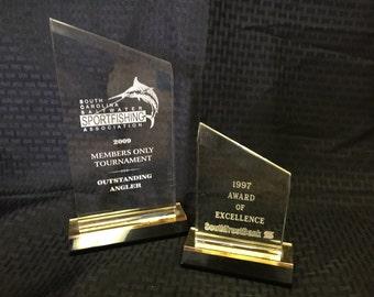 Beveled Peak Reflection Acrylic Award with Colored Base