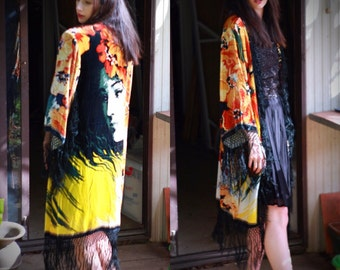 Deco fringed velvet kimono / stevie nicks gypsy silk jacket with Mucha romantic lady face duster robe