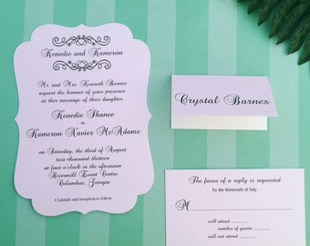 Vintage Chic Die Cut Wedding Invitations