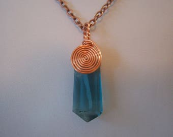 Handmade Wire Wrapped Natural Flourite Needle Pendant and Chain in Copper