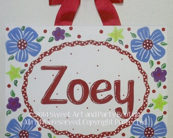 Red Blue Flower canvas name sign Custom Personalized wall art baby nursery chlidren handpainted monogram decor painting