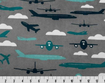MINKY - Aviator Cuddle Teal From Shannon Fabric's Robert Kaufman Collection - Choose Your Cut