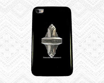 Art deco Iphone Case Inlaid in Hand Painted Black Glossy Enamel Black Geometric Ispired Metal Phone Case Custom Colors Available