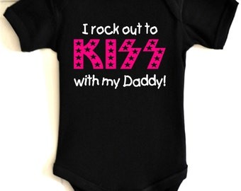wPb i rock out to kiss with daddy mommy baby  t shirt bodysuit one piece band cool top
