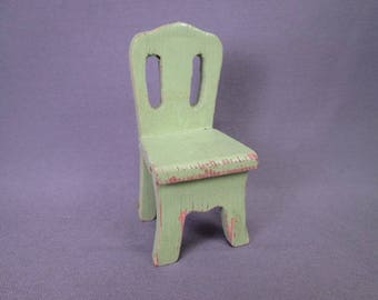 "Wooden Dollhouse Furniture - Schoenhut Chair in Light Green 1933 - 3/4""  Scale"