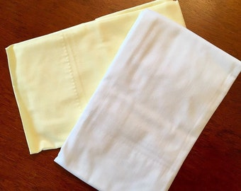 Unused Vintage Pillowcases - Nos Cannon Monticello Percale - Solid White and Solid Yellow NIP - New - NOS