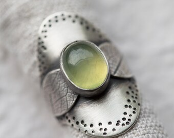 Glade Ring. size 6.5 ( green prehnite gemstone ring. antique sterling silver. wide saddle shank. tree leaf print nature jewelry )
