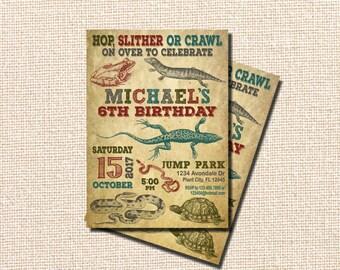 Reptile Birthday Invitation, 6th Birthday Invitation, sixth Birthday, Reptile Party, Snake Party, Reptile Invitation, Lizard, Snake, Turtle
