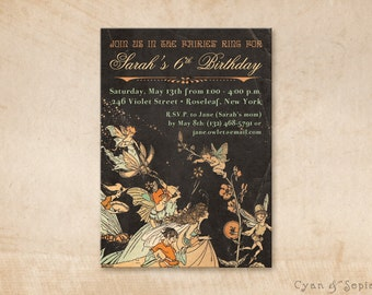 Printable Party Invitation - 5 x 7 - Fairy Gathering - Faerie Tale Storybook Vintage Elf Illustration - Black Peach Orange Mint Ivory