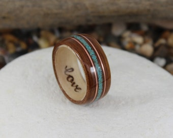 Rosewood & Maple Wood Ring With Turquoise + Copper, Wooden Rings, Mens Wood Rings, Wooden Wedding Rings, Bent Wood Rings, Wooden Ring