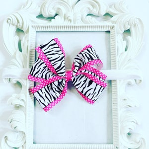 Pink And Zebra Print Hair Bow, Zebra Print Hairband, Girl's Pink And Black Hair Bow, Girls 4 inch Zebra Print Hair Bows, Newborn Hair Bows