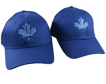 Pair of Canadian Blue Maple Leaf 3D Puff Style Embroidery Designs on 2 Royal Blue Adjustable Structured Baseball Caps Adult + Child Age 6-14