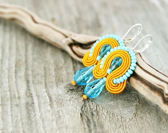 Orange blue soutache earrings, drop orange earrings, small orange earrings