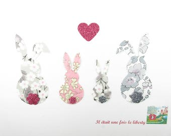 Rabbit family fusing liberty Mitsi gray pink Capel and Betsy Platinum + glitter flex applied fusing bunny patch patches