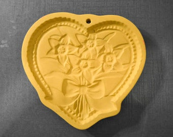 Shortbread Mold by Brown Bag Cookie Art, ©1990, Hill Design, Heart with Flowers