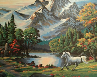 Mountain Scene Paint By Number - Horse Paint By Number-  Stallion Ranch Painting - vintage - paintbynumber No.100 cs