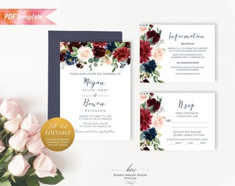 All Text Editable, Printable Red Burgundy Navy Floral Wedding Invitation Set PDF Templates, Any font color language event, DIY Download #10