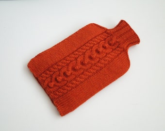 Cosy Hand Knitted Hot Water Bottle Cover, Burnt Orange - HIGHBURY