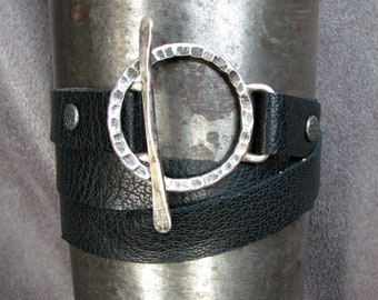 Leather Wrap Bracelet with Hand-Forged Sterling Silver Toggle Clasp (item 118)