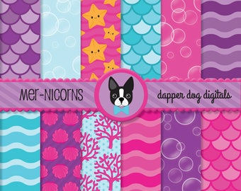Mermaids Unicorns Digital Paper Pack - Commercial Use, scrapbook papers
