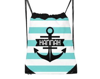 Drawstring Backpack, Drawstring Gym Bag, Drawstring Bag, Sleepover Bag, Monogram, Personalized, Anchor Stripes