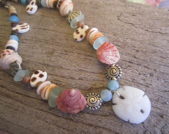 my little beach necklace, tropical shell necklace, shells and sea glass jewelry, ocean themed jewelry