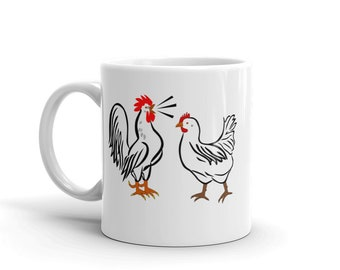 Rooster Crowing at Hen Coffee Mug, Great gift idea