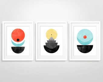 Geometric Wall Art Set of 3, Abstract Art Print, Mid Century Modern Art, Living Room Art, Modern Abstract, Geometric Art Print