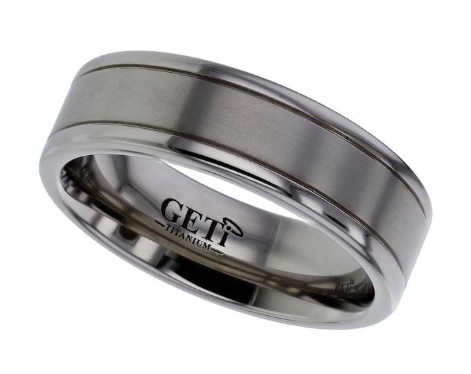 7mm Wide Titanium Wedding Ring Centre Satin Stripe & Polished Edges SIZE V