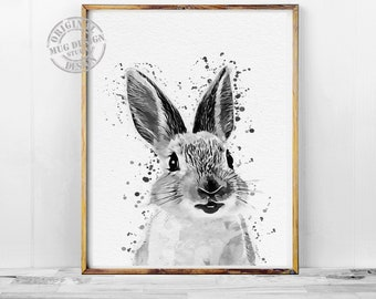 Black White Nursery Bunny Print, Rabbit Wall Art Print, Bunny Rabbit Watercolor Painting, Woodland Decor, Modern Baby Room Bunny Rabbit Art