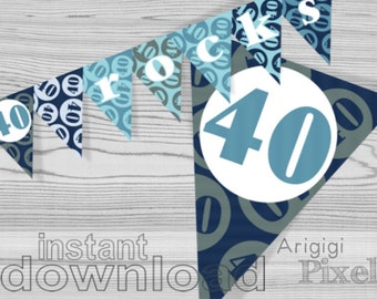 40th birthday banner, 40 rocks, printable blue birthday party decoration, PDF file instant download