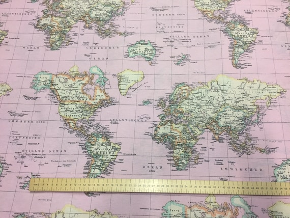 Retro world map light pink designer curtain upholstery cotton retro world map light pink designer curtain upholstery cotton fabric material print world map print canvas 55140cm world map pink gumiabroncs Image collections
