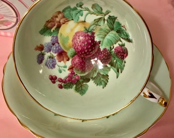 Pretty in Pink-And Green-Paragon Pedestal Teacup and Saucer Fruit Motif