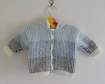 Hooded Blue Cardigan, Knitted Cardigan, Baby Boy, Hooded Cardigan, Boys Hoody, 3 - 6 Months