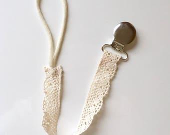 Crochet Lace Pacifier Holder/Clip