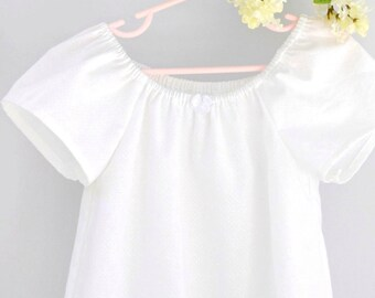 Tween Older Girls Ruffled White Cotton Summer Nightgown, Size 9/10 11/12, Rose and Ruffle