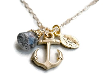 Gemstone Personalized Anchor Necklace, Gold Anchor Necklace, Nautical Theme Gift, Wedding Jewelry, Graduation Gift, Bridesmaid Jewelry